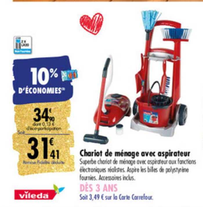 Carrefour Chariot De Ménage Avec Aspirateur Vileda