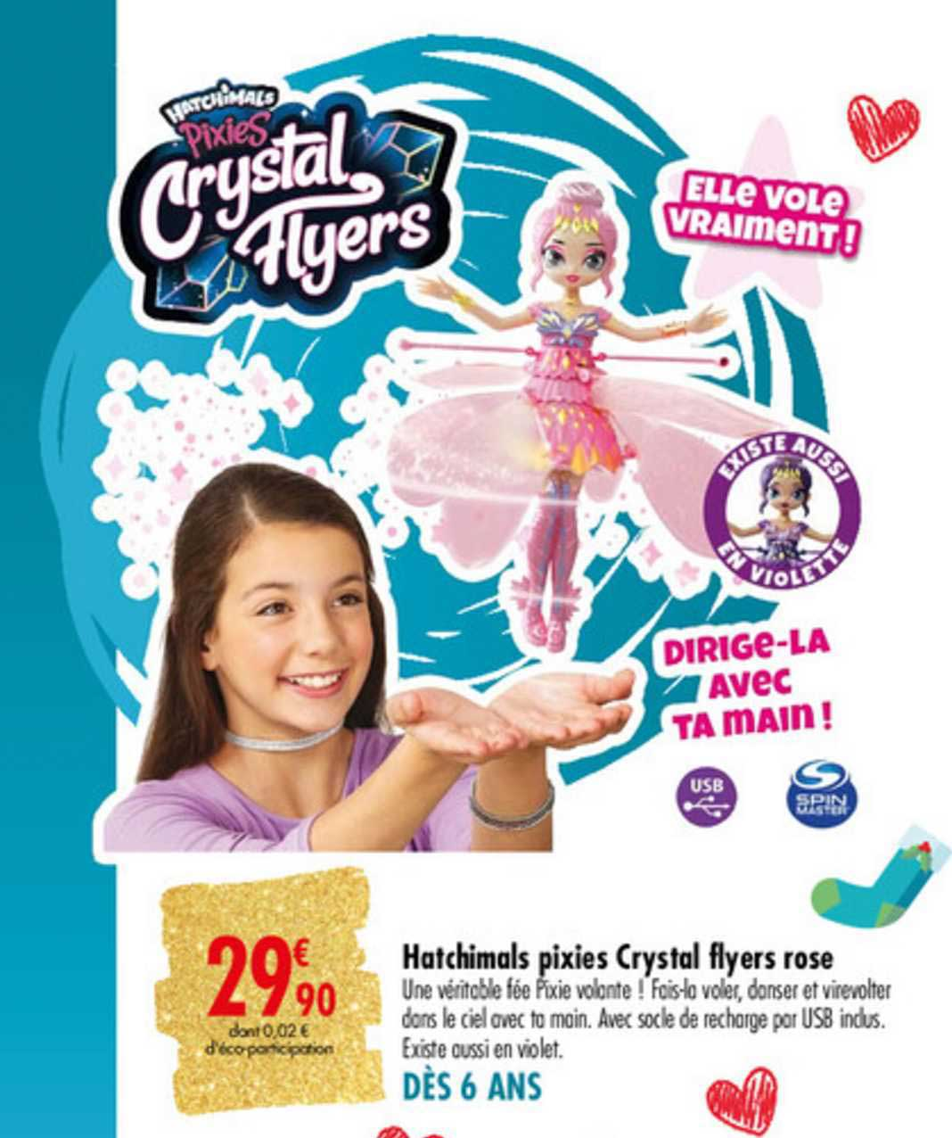 Carrefour Hatchimals Pixies Crystal Flyers Rose