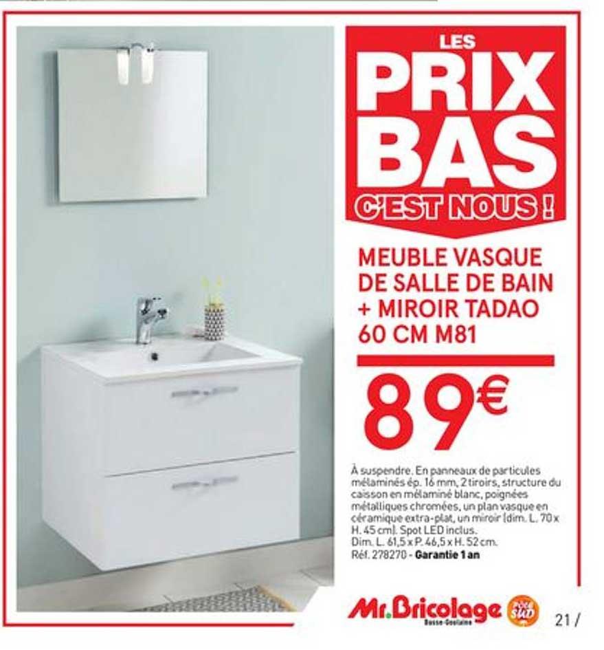 Offre Meuble Vasque De Salle De Bain Miroir Tadao 60 Cm M81 Chez Mr Bricolage