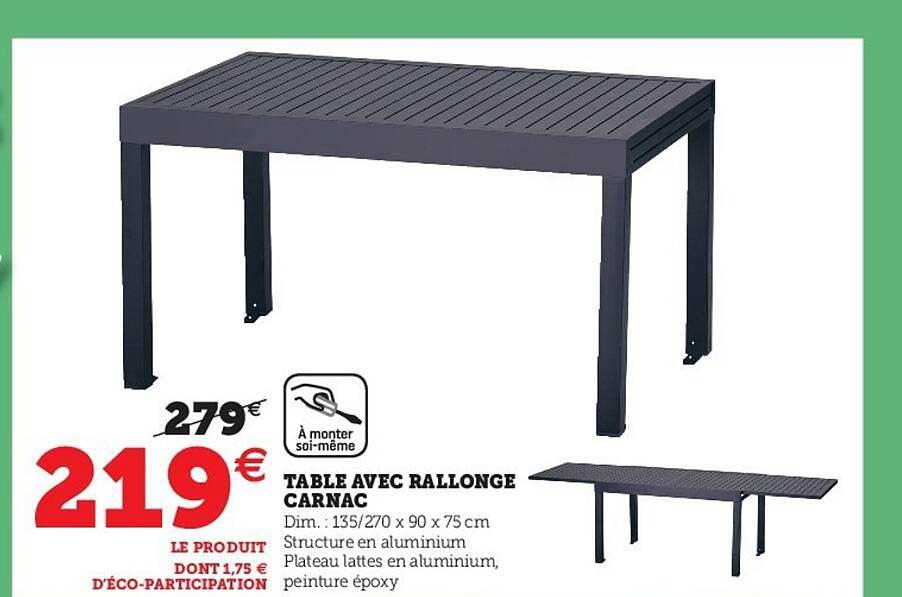 Super U Table Avec Rallonge Carnac