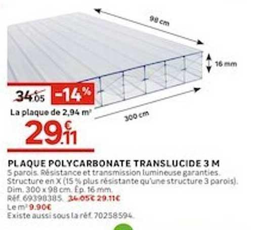 Leroy Merlin Plaque Polycarbonate Translucide 3 M