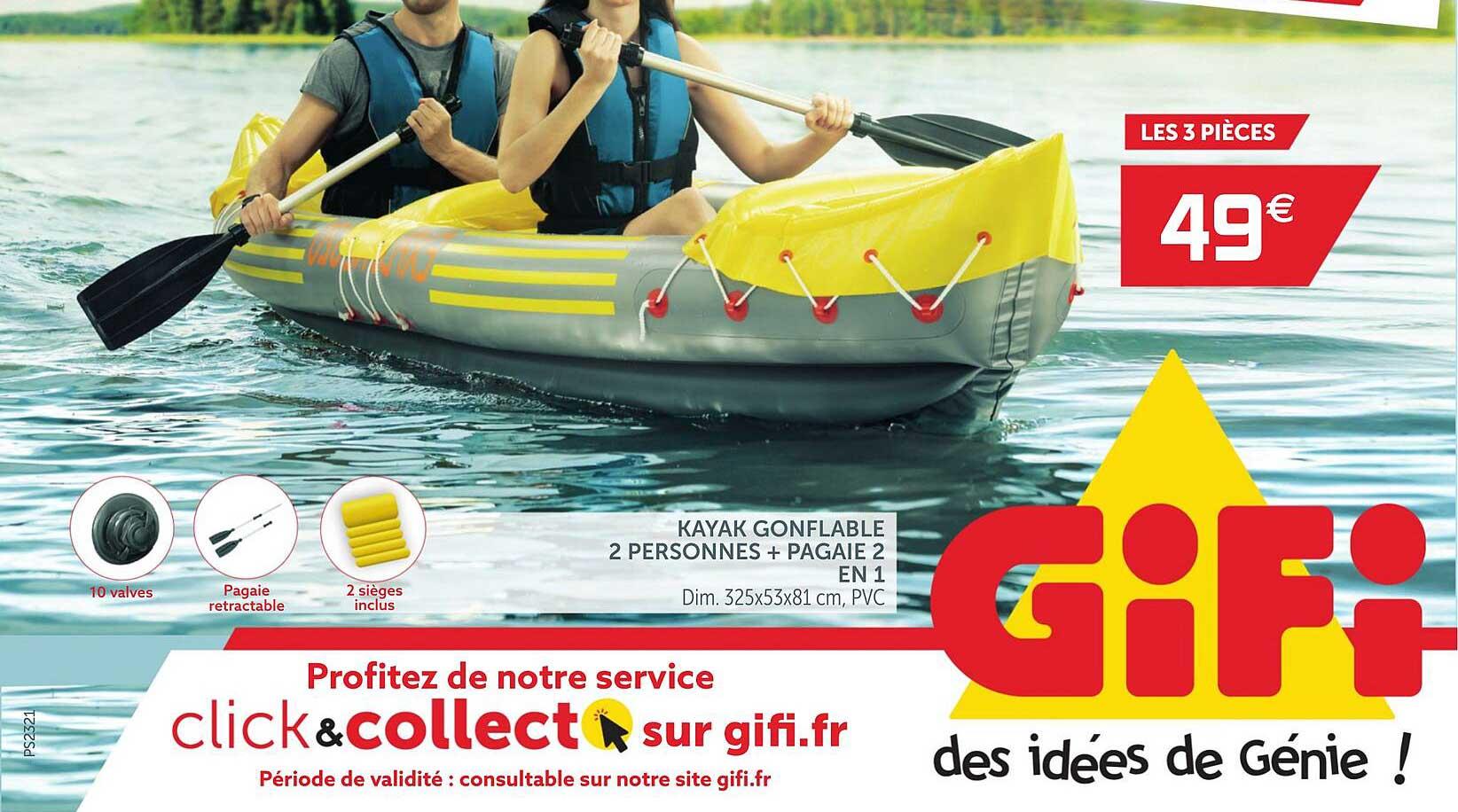 GiFi Kayak Gonflable 2 Personnes + Pagaie 2 En 1