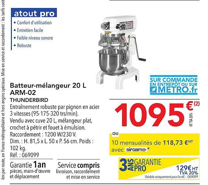 METRO Batteur Mélangeur 20 L Arm 02 Thunderbird
