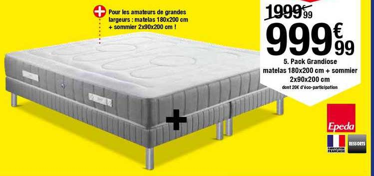 BUT Pack Grandiose Matelas 180x200 Cm + Sommier 2x90x200 Cm Epeda