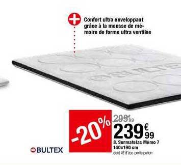 Offre Surmatelas Memo 5 140x190 Cm Bultex Chez But