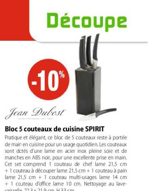 Mathon Bloc 5 Couteaux De Cuisine Spirit