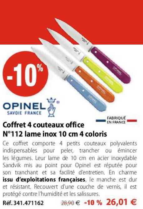 Mathon Coffret 4 Couteaux Office N°112 Lame Inox 10 Cm 4 Coloris