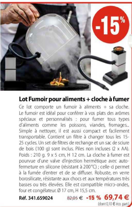 Mathon Lot Fumoir Pour Aliments + Cloche à Fumer