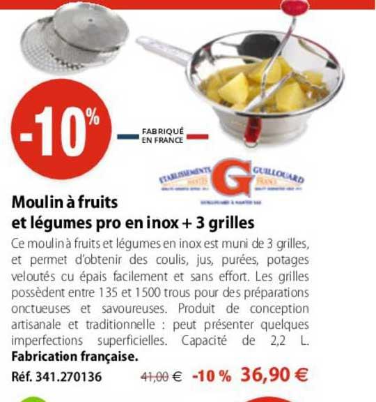 Mathon Moulin à Fruits Et Légumes Pro En Inox + 3 Grilles