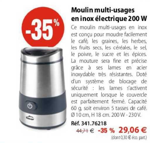 Mathon Moulin Multi-usages En Inox électrique 200 W