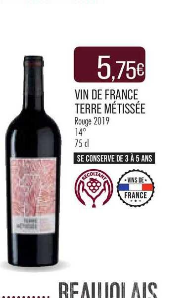 Match Vin De France Terre Métissée Rouge 2019