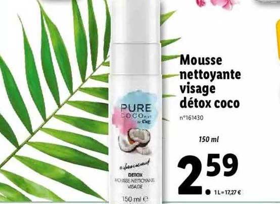 Lidl Mousse Nettoyante Visage Détox Coco