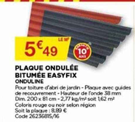 Offre Plaque Ondulee Bitumee Easyfix Onduline Chez Bricomarche