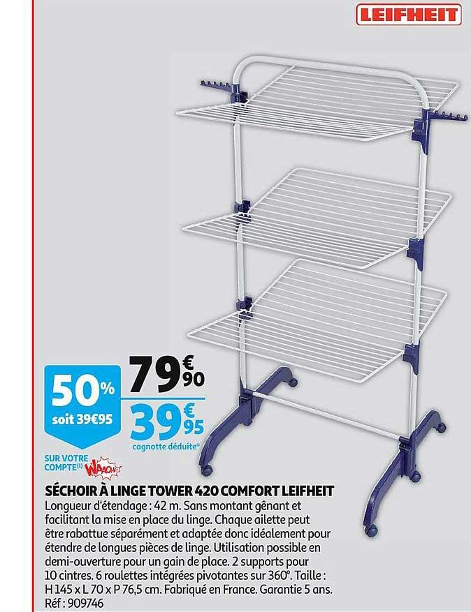 Auchan Séchoir à Linge Tower 420 Comfort Leifheit