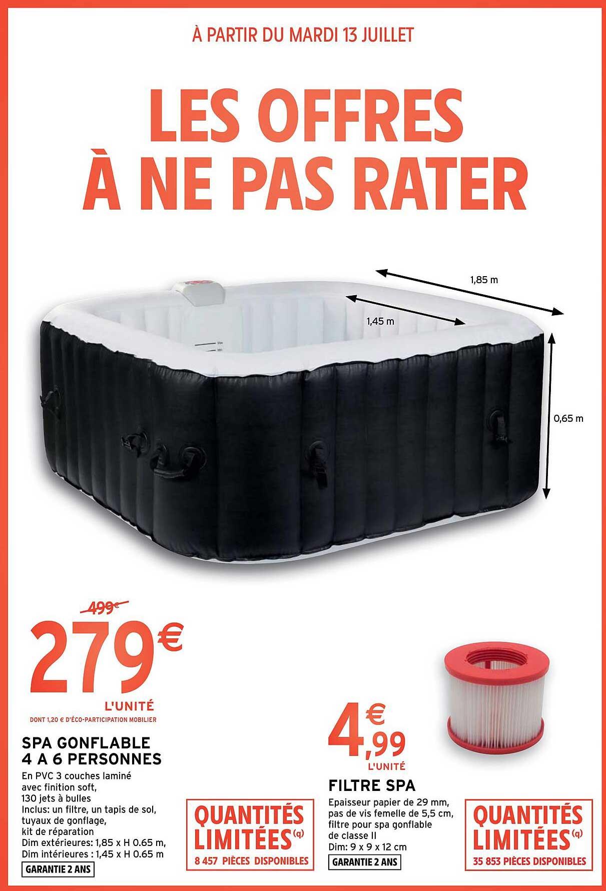 Intermarché Hyper Spa Gonflable 4 à 6 Personnes, Filtre Spa