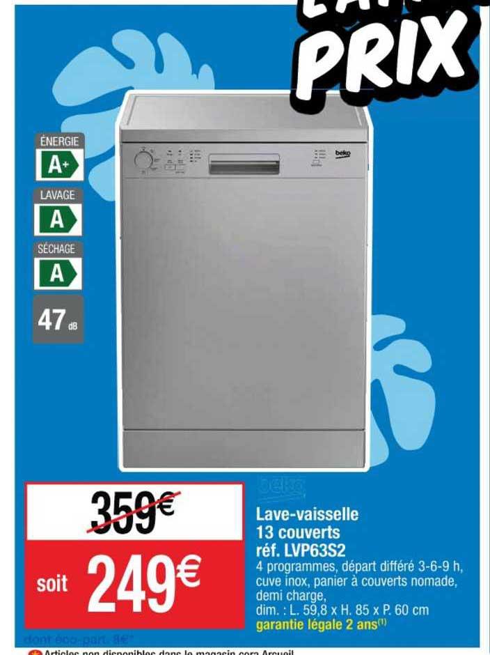 Cora Lave Vaisselle 13 Couvert Réf. Lvp63s2