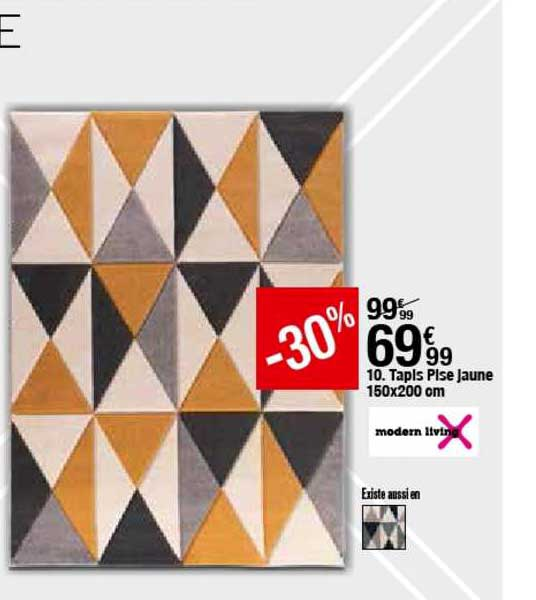 offre tapis pise jaune 150x200 cm chez but