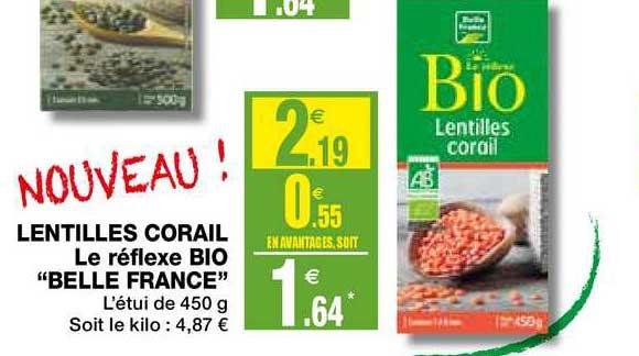 Coccimarket Lentilles Corail Le Réflexe Bio Belle France