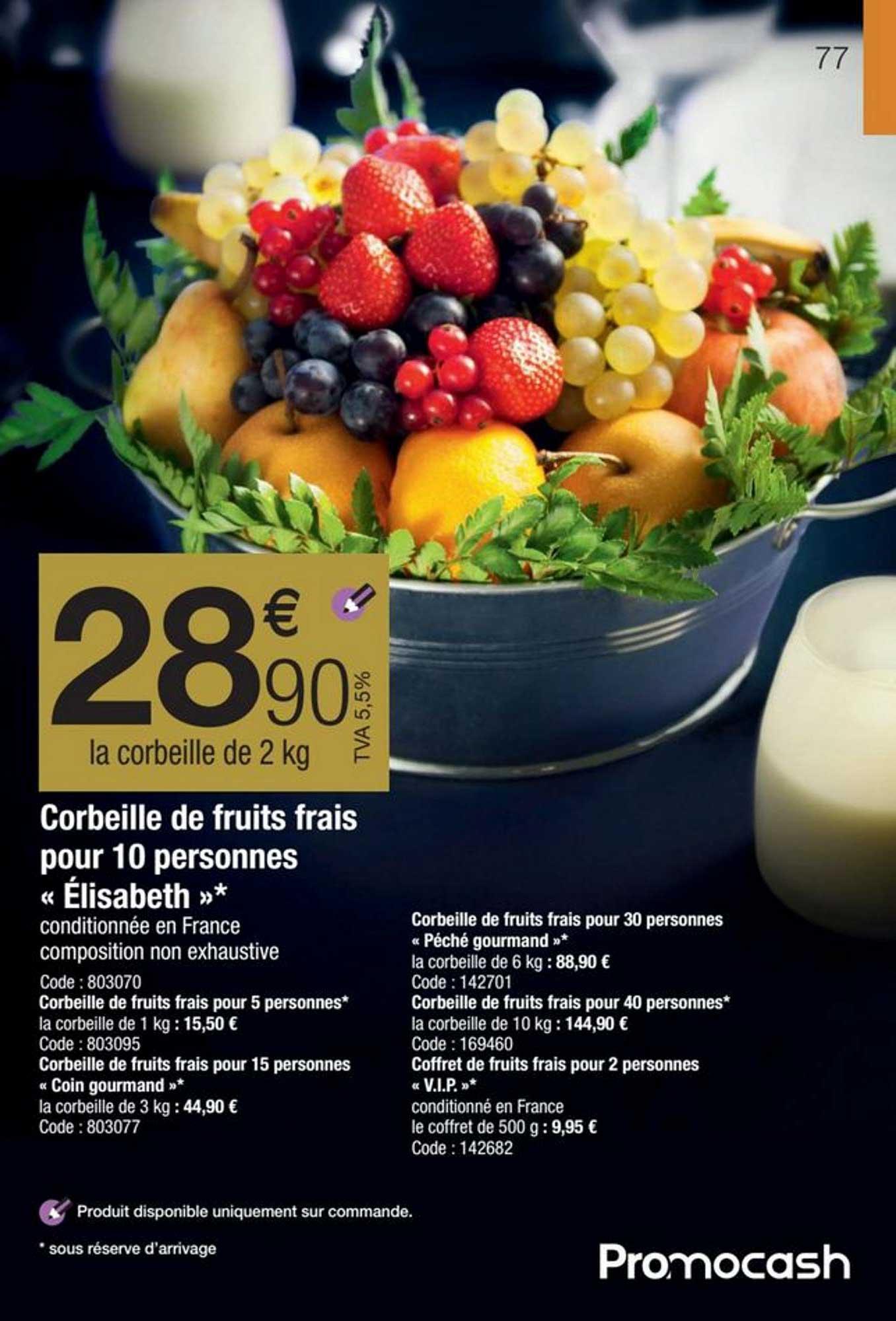 Promocash Corbeille De Fruits Frais Pour 10 Personnes «elisabeth»
