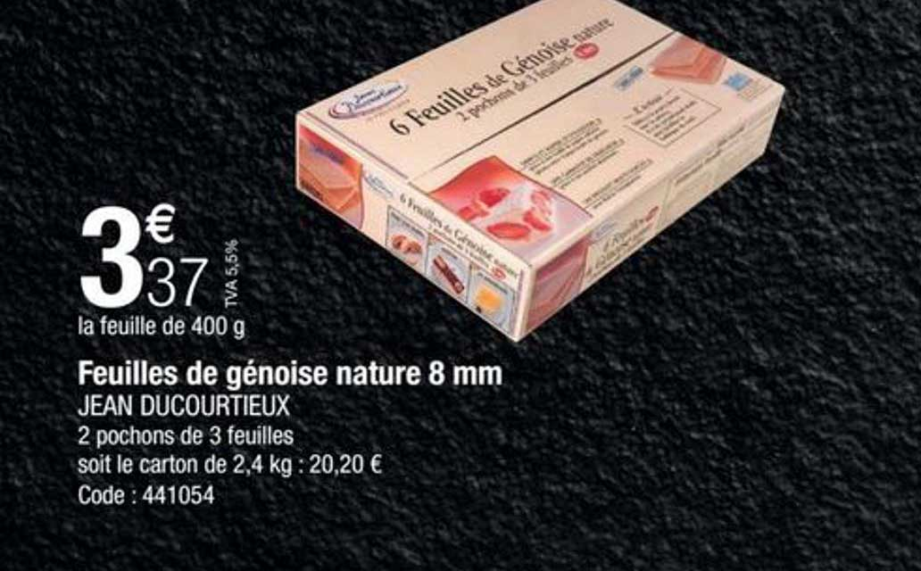 Promocash Feuilles De Génoise Nature 8 Mm Jean Ducourtieux