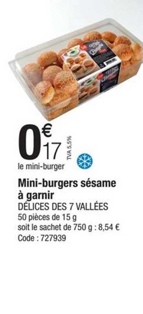 Promocash Mini-burgers Sésame à Garnir Délices Des 7 Vallées