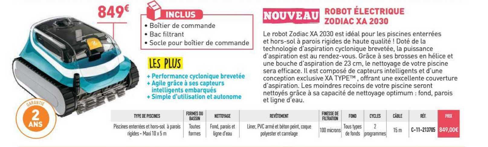 Cash Piscines Robot électrique Zodiac Xa 2030