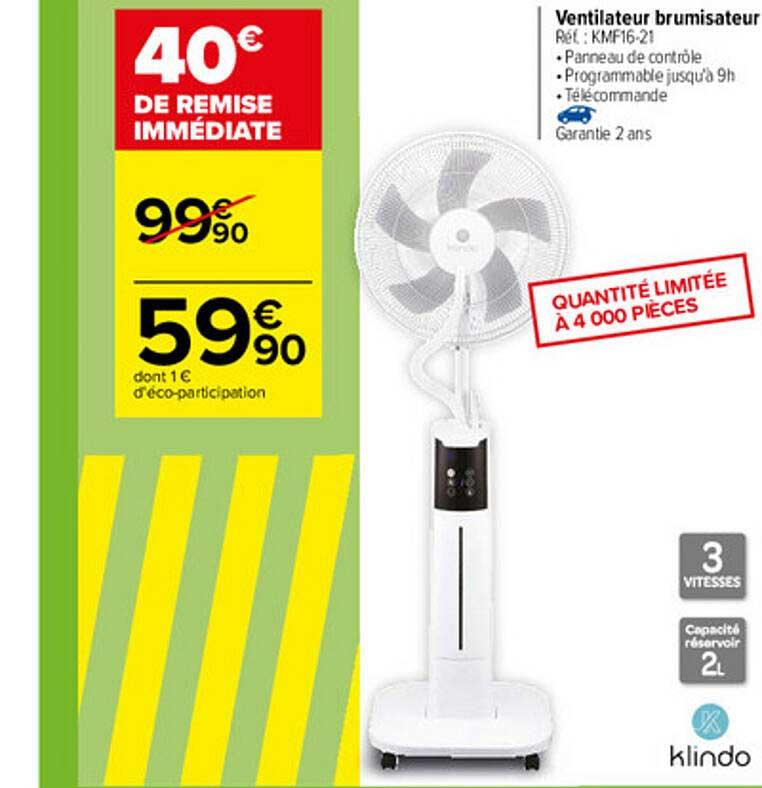 Carrefour Ventilateur Brumisateur Klindo