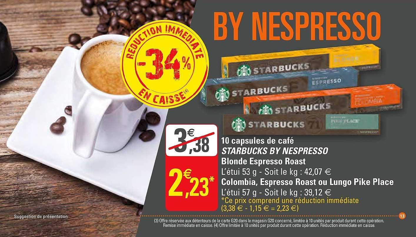 G20 10 Capsules De Café Starbucks By Nespresso Blonde Espresso Roast