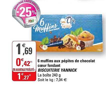 G20 6 Muffins Aux Pépites De Chocolat Cœur Fondant Biscuiterie Yannick