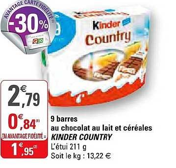 G20 9 Barres Au Chocolat Au Lait Et Céréales Kinder Country