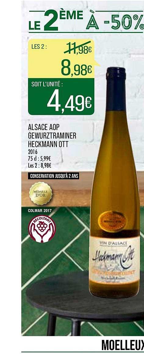 Match Alsace Aop Gewurztraminer Heckmann Ott Le 2ème à -50%