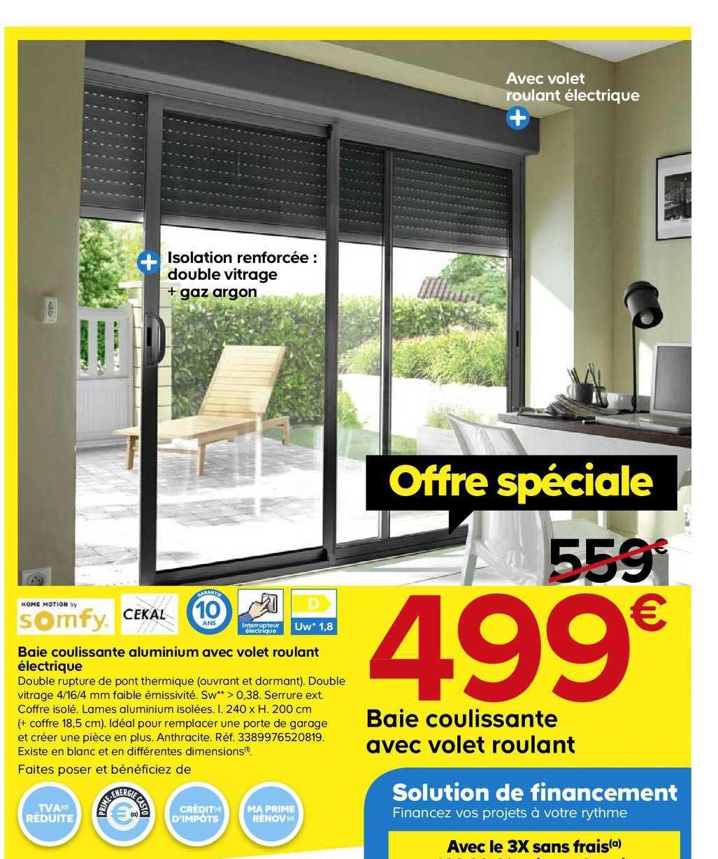 Offre Baie Coulissante Aluminium Avec Volet Roulant Electrique Chez Castorama