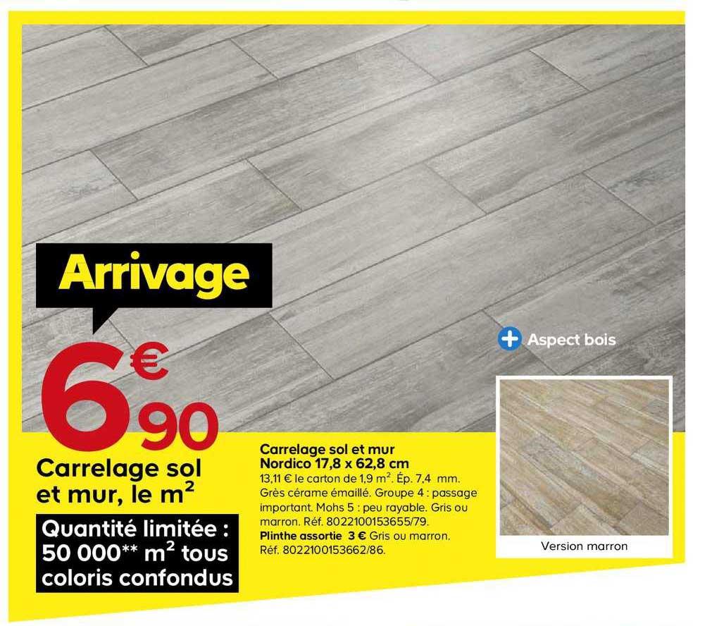 Castorama Carrelage Sol Et Mur Nordico 17.8x62.8 Cm