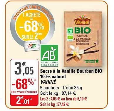 G20 Sucre à La Vanille Bourbon Bio 100% Naturel Vahiné