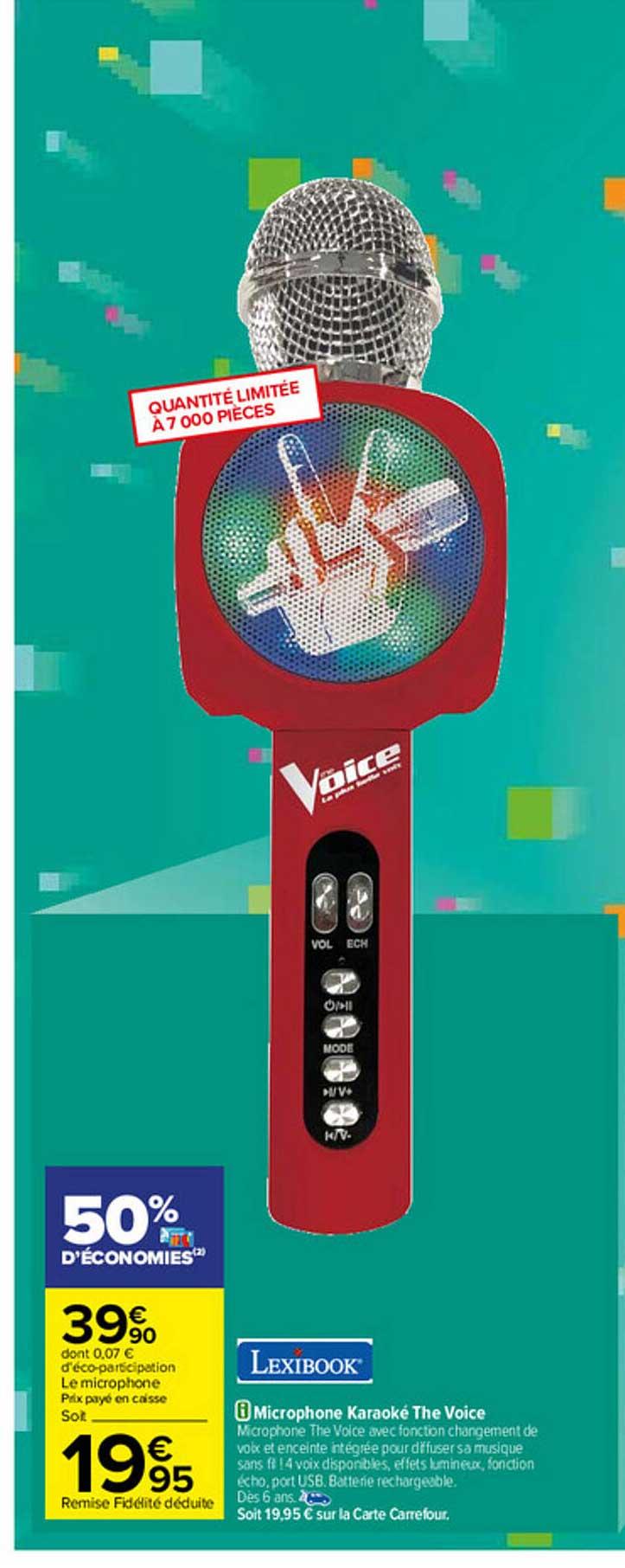 Carrefour Microphone Karaoké The Voice Lexibook