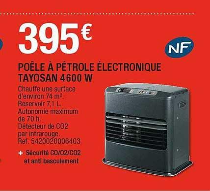 Brico Dépôt Poêle Pétrole électronique Tayosan 4600 W