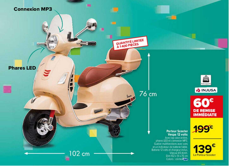 Carrefour Porteur Scooter Vespa 12 Volts