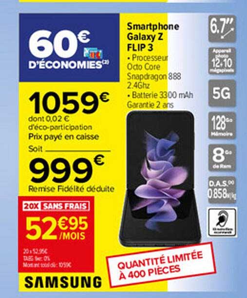 Carrefour Smartphone Galaxy Z Flip 3 Samsung