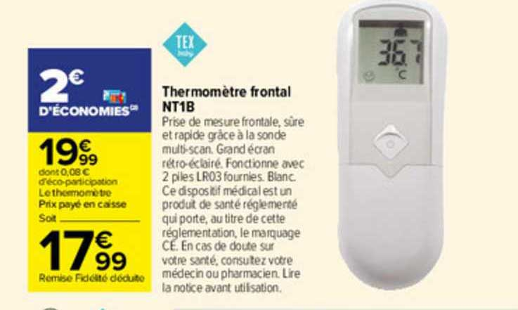 Carrefour Thermomètre Frontal Nt1b Tex Baby