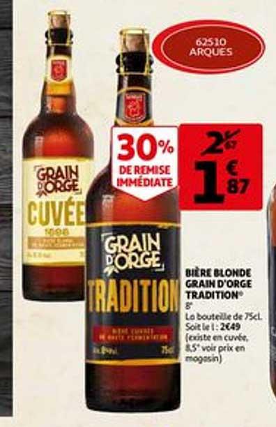 Offre Biere Blonde Grain D Orge Tradition Chez Auchan Direct