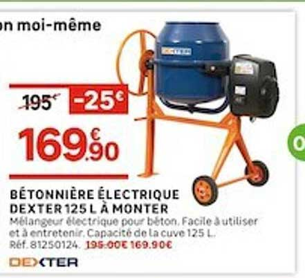 Leroy Merlin Bétonnière électrique Dexter 125 L à Monter