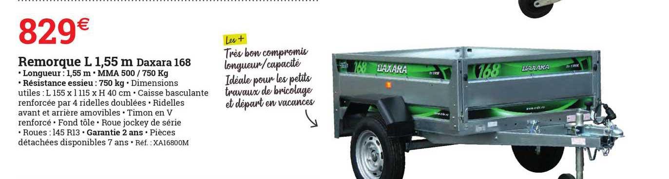 ESPACE EMERAUDE Remorque L 1,55 M Daxara 165