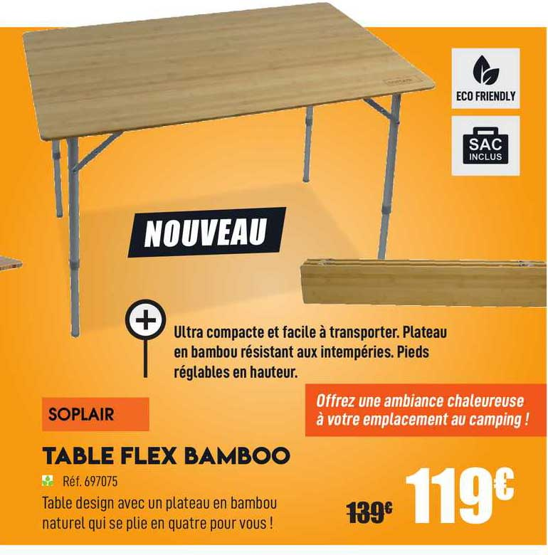 Narbonne Accessoires Table Flex Bamboo Soplair