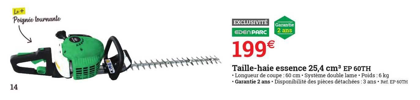 ESPACE EMERAUDE Taille-haie Essence 25,4 Cm3 Ep 60th Edenparc