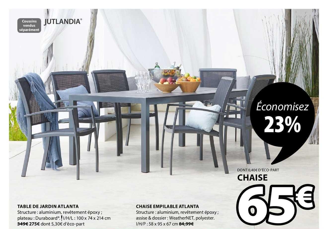 JYSK Table De Jardin Atlanta Chaise Empilable Atlanta