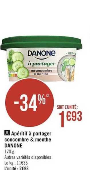 Casino Supermarchés Apéritif à Partager Concombre & Menthe Danone