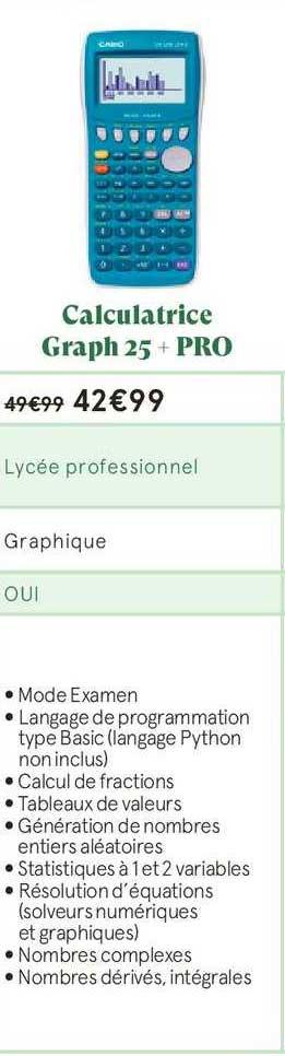Monoprix Calculatrice Graph 25+ Pro