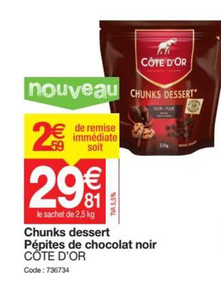 Promocash Chunks Dessert Pépites De Chocolat Noir Côte D Or