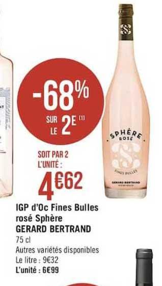 Casino Supermarchés Igp D'oc Fines Bulles Rosé Sphère Gerard Bertrand -68% Sur Le 2e
