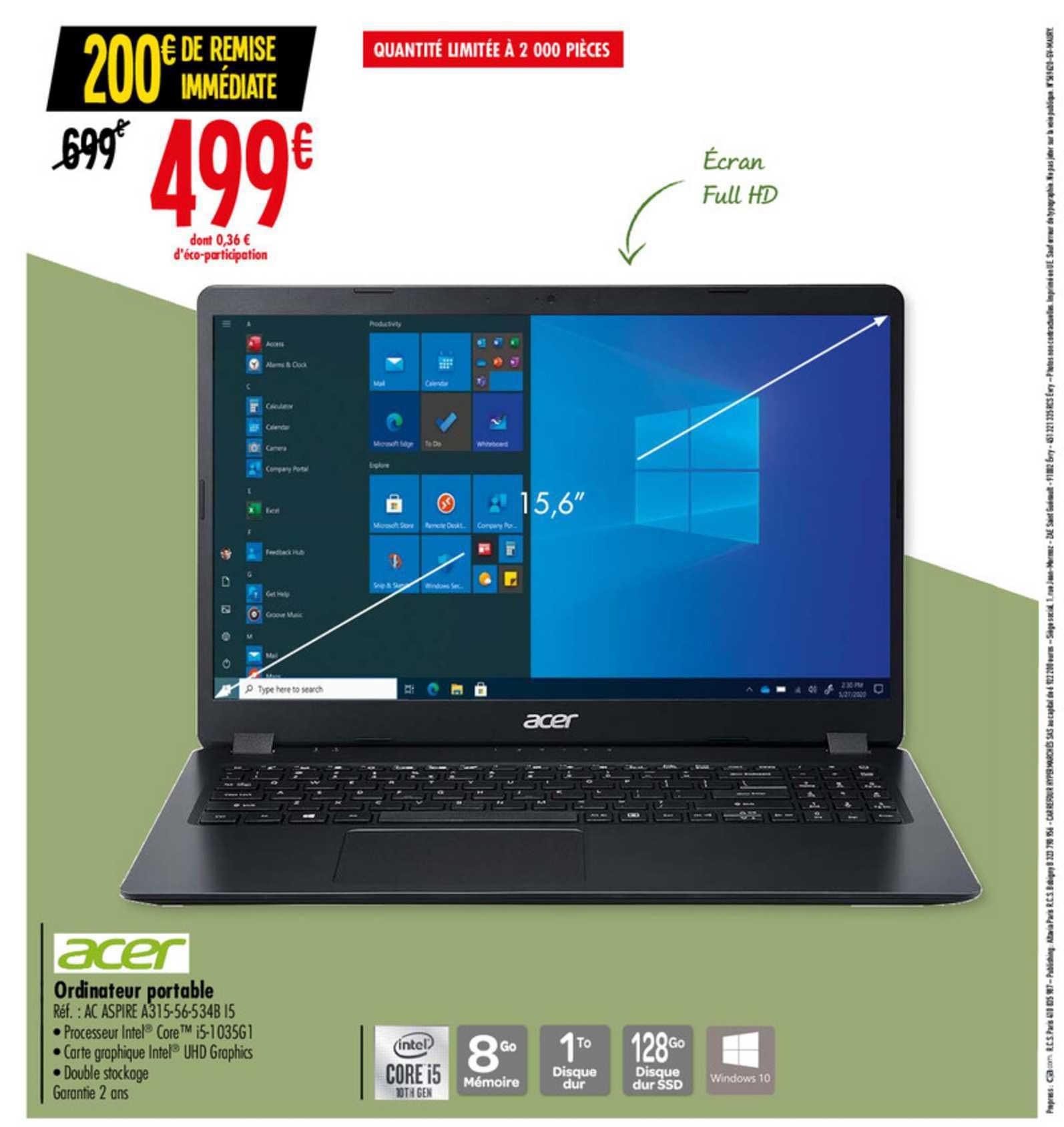 Carrefour Acer Ordinateur Portable Ac Aspire A315 56 534b I5